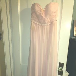 Baby pink evening dress with beading